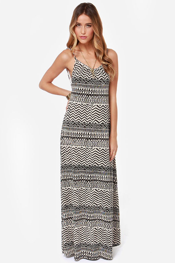 Mohave Miss Ivory and Black Print Maxi Dress at Lulus.com!