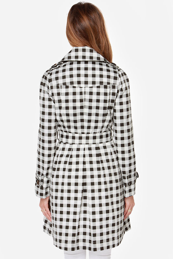Star Check Ivory and Black Checkered Coat at Lulus.com!
