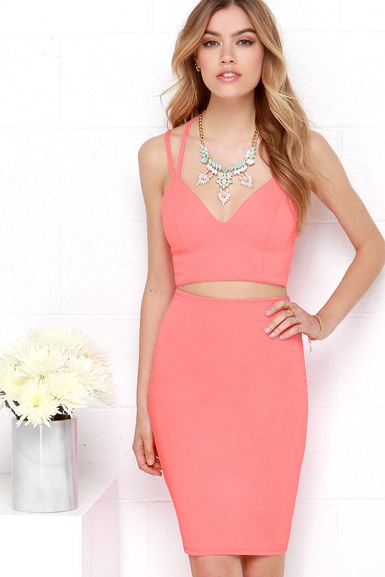 Neon Coral Two-Piece Dress - Strappy Bodycon Dress - $78.00