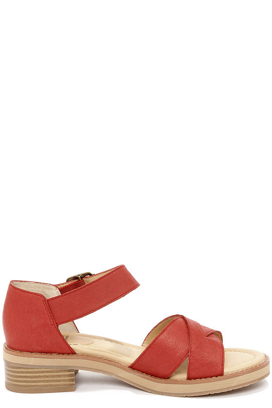BC Footwear Deal With It Red Leather Sandals at Lulus.com!