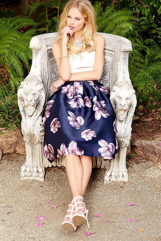 c815c58eb Elegant Midi Skirt - Floral Print Skirt - Navy Blue Skirt - $48.00