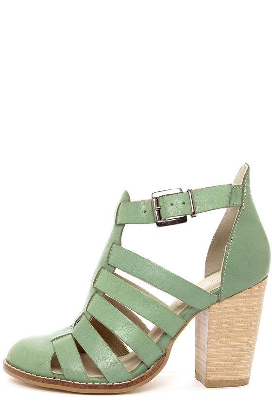 08b871930 Chic Leather Sandals - Seafoam Sandals - High Heel Sandals -  111.00
