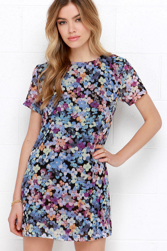 7e2741c8062 Blue Floral Print Dress - Shift Dress - Short Sleeve Dress -  49.00