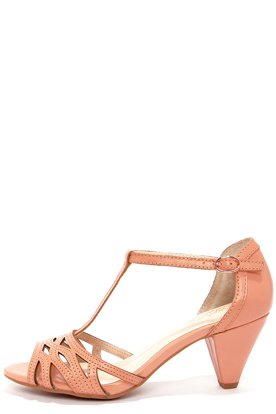 Chic Leather Heels - Peach Heels - Kitten Heels - Dress Sandals ...