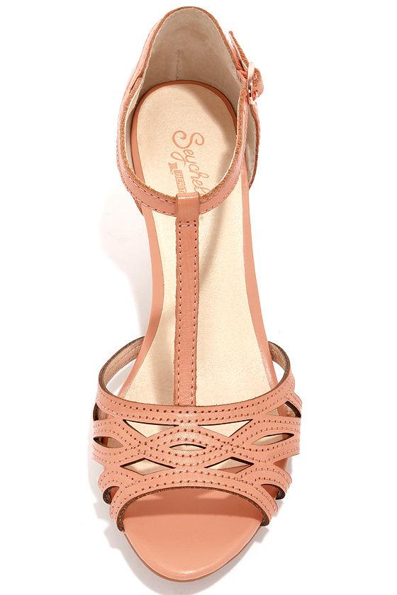 Chic Leather Heels - Peach Heels - Kitten Heels - Dress Sandals ...