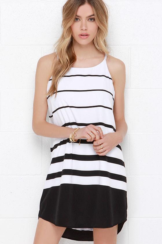 Cute Black And White Dress Striped Dress Shift Dress 7500