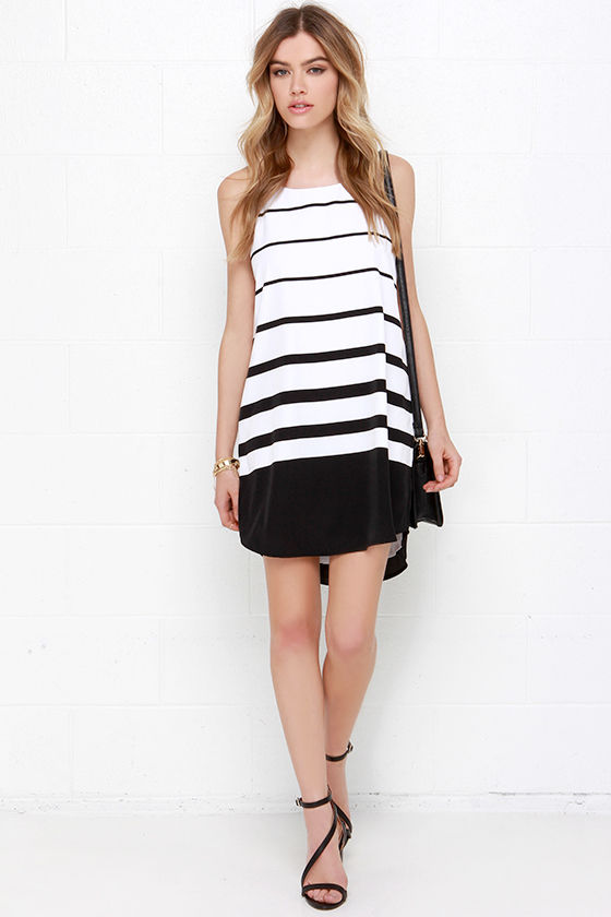 231bf2f0a43 Cute Black and White Dress - Striped Dress - Shift Dress -  75.00