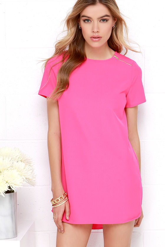 Cute Hot Pink Dress - Zipper Dress - Shift Dress - $28.00