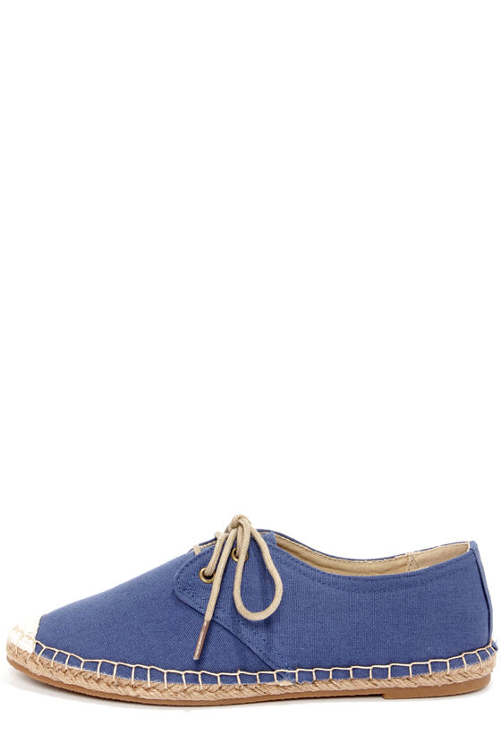 Bamboo Saturday 04 Blue Lace-Up Espadrille Flats at Lulus.com!