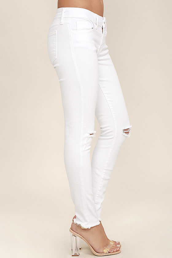 Lean With It White Distressed Skinny Ankle Jeans 3