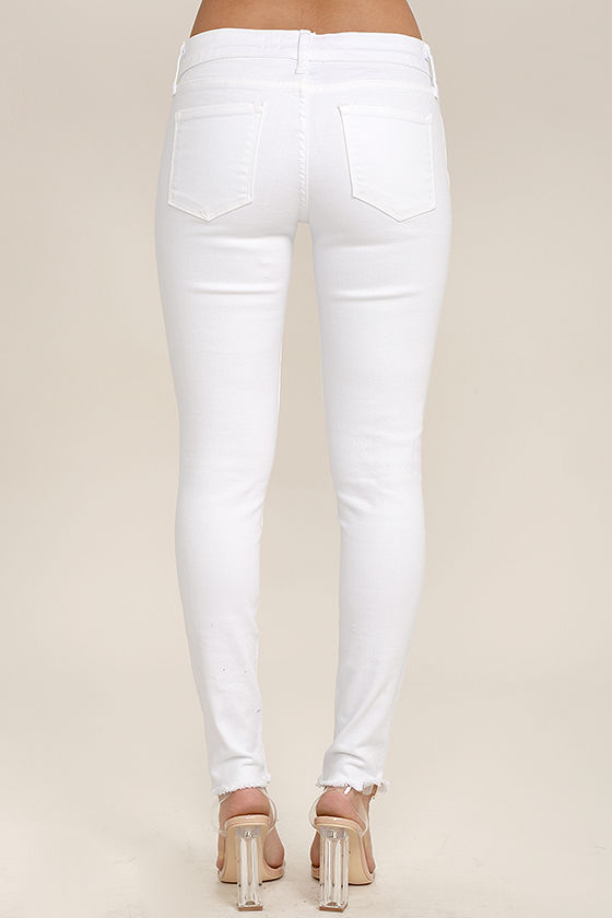 Lean With It White Distressed Skinny Ankle Jeans 4