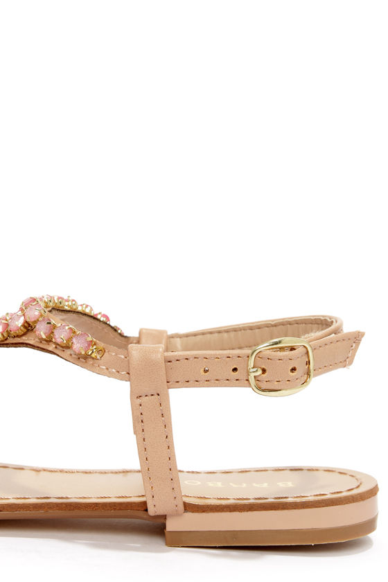Bamboo Ambra 49 Nude Jeweled Sandals at Lulus.com!