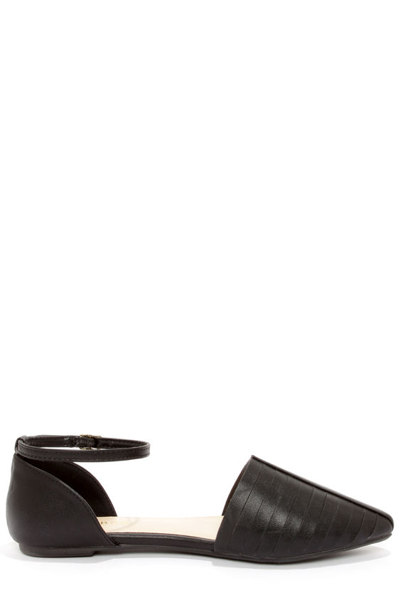 Bamboo Object 32 Black Ankle Strap D'Orsay Flats at Lulus.com!