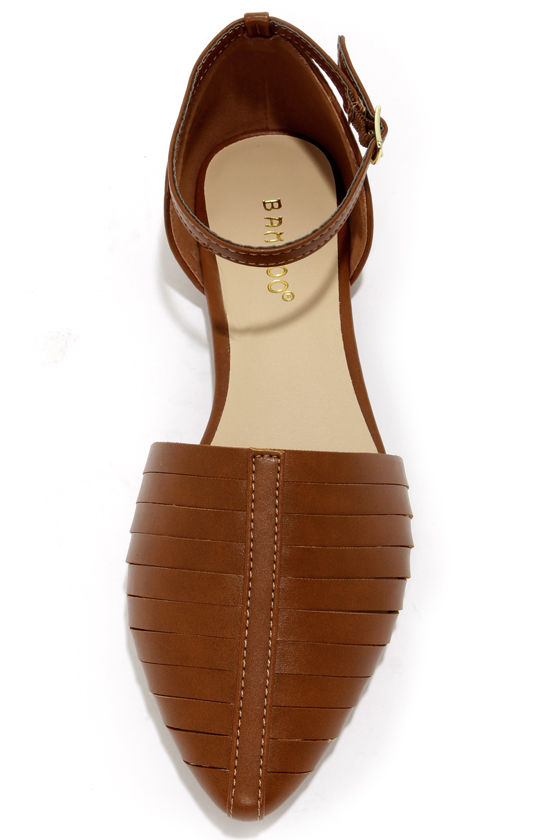 Bamboo Object 32 Chestnut Ankle Strap D'Orsay Flats at Lulus.com!