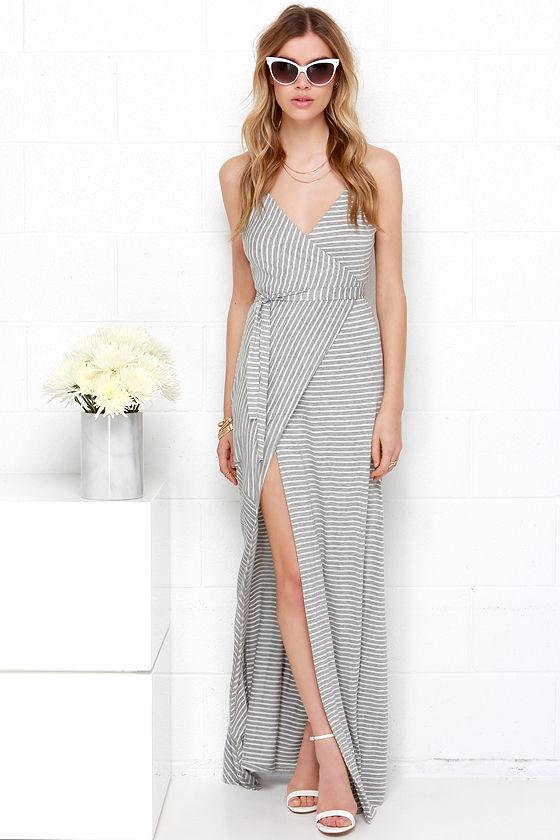 Cute Wrap Maxi Dress - Ivory and Grey Dress - Striped Maxi Dress ...