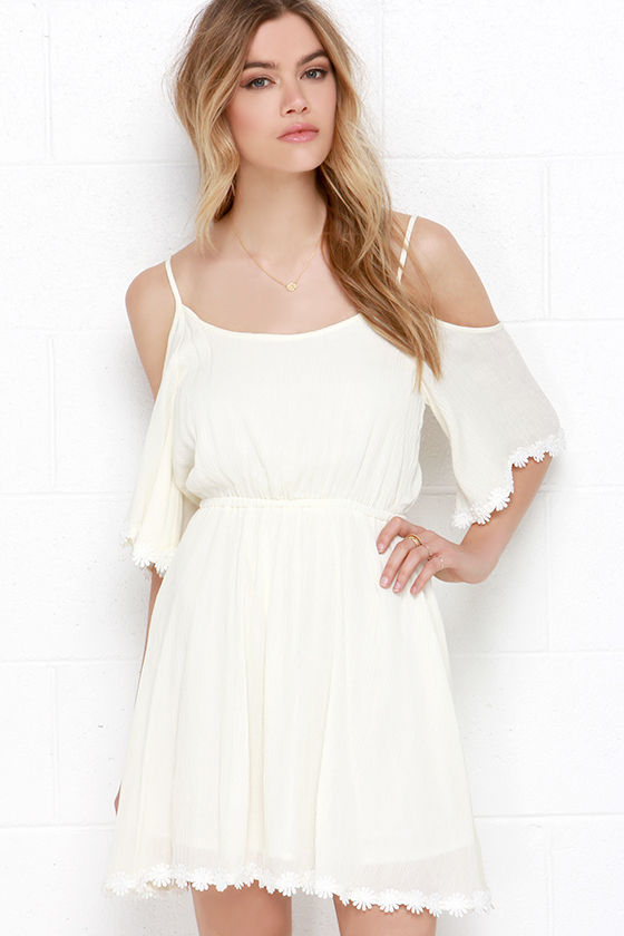 add86651ceaa Pretty Cream Dress - Off-the-Shoulder Dress - Embroidered Dress -  54.00
