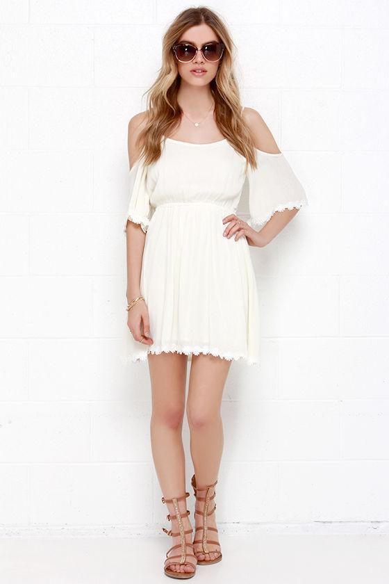 3230392154cbd8 Pretty Cream Dress - Off-the-Shoulder Dress - Embroidered Dress - $54.00