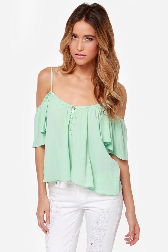 6102e19ab29a6b Cute Mint Top - Off-the-Shoulder Top - Mint Green Shirt -  43.00