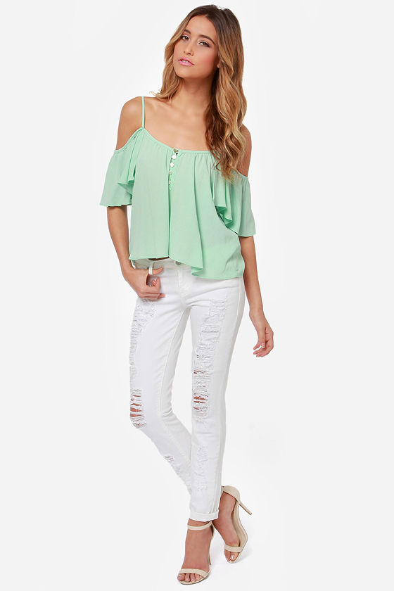 1382bc946dee Cute Mint Top - Off-the-Shoulder Top - Mint Green Shirt -  43.00