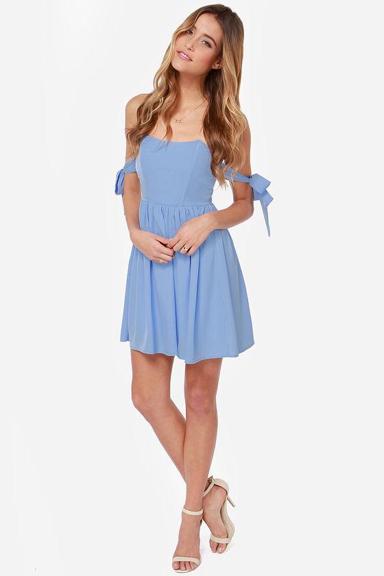 e69e8e01e230 Pretty Periwinkle Dress - Off-the-Shoulder Dress -  43.00