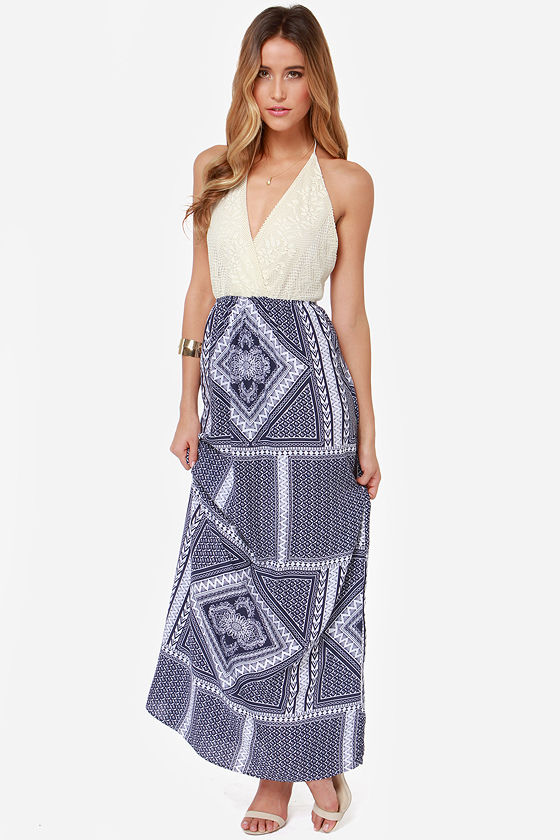 Out in the Open Blue Print Maxi Dress at Lulus.com!