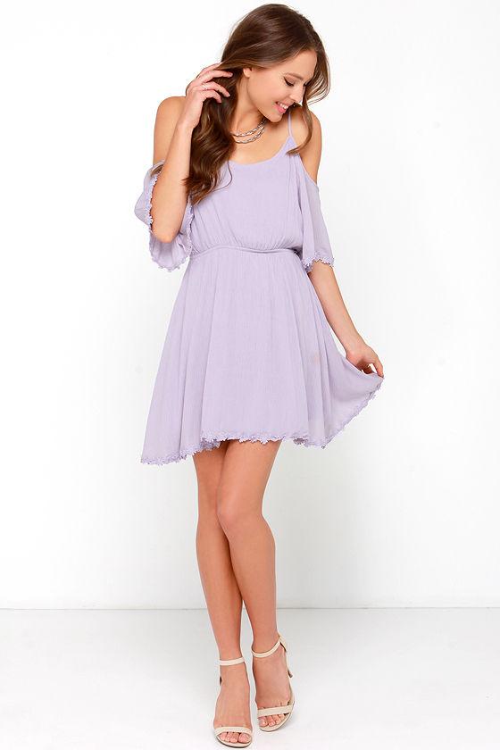 9400d0b59d01 Cute Lavender Dress - Off-the-Shoulder Dress - Embroidered Dress ...