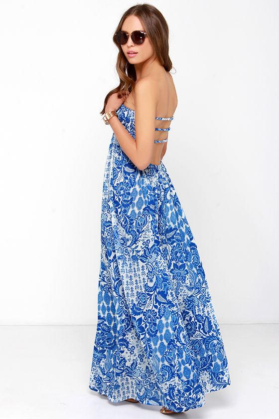 Lovely Blue Floral Print Dress - Maxi Dress - Strapless Dress - $49.00