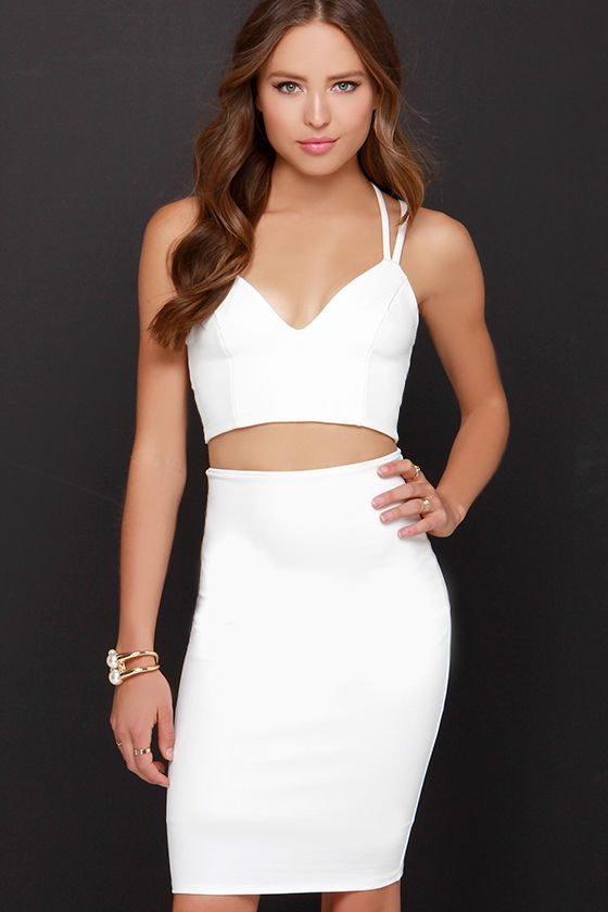 b58b0e91f2d88 Chic Ivory Two-Piece Dress - Bodycon Dress - White Dress - $78.00
