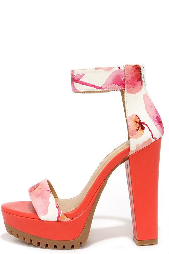 Pretty Red Heels - Floral Heels - Platform Sandals - $38.00