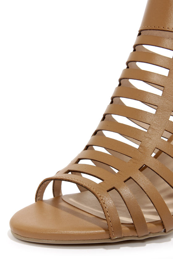 Steve Madden Kendal Cognac Leather High Heel Sandals at Lulus.com!