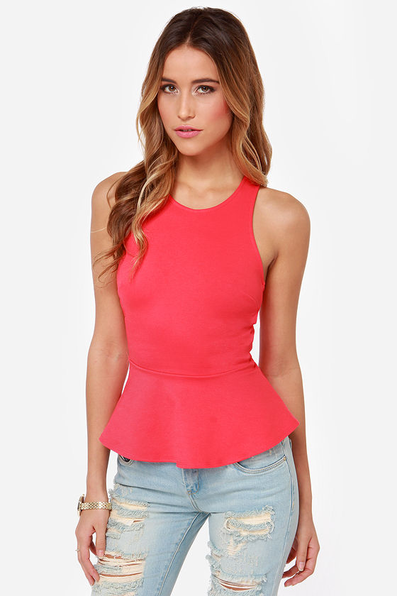 Nobody's Baby Backless Coral Red Peplum Top at Lulus.com!