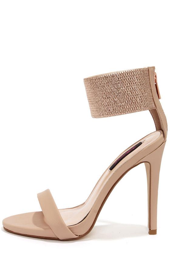 Cute Blush Heels - Metallic Heels - Single Strap Heels - $34.00