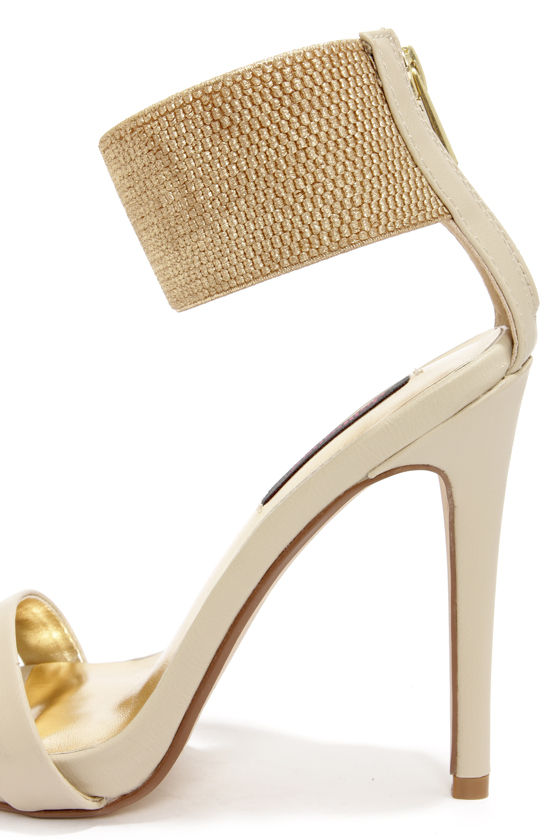Dollhouse Puruse Ivory Metallic Single Strap Heels at Lulus.com!