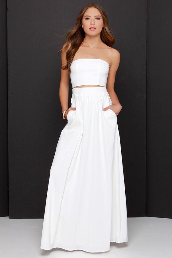 Cute Two-Piece Dress - Ivory Dress - White
