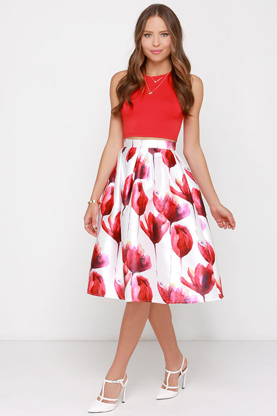 Ivory and Red Floral Print Skirt - Midi Skirt - High-Waisted Skirt ...