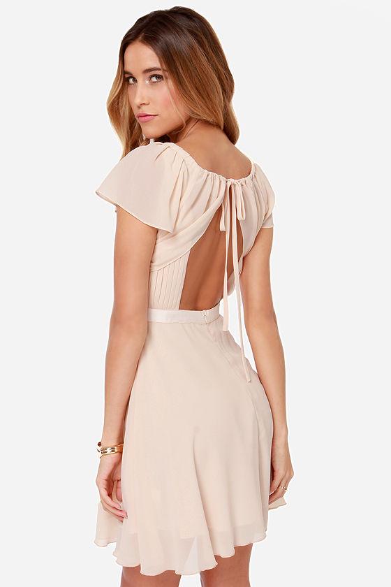 Beautiful Peach Dress - Light Peach Dress - Backless Dress - $60.00