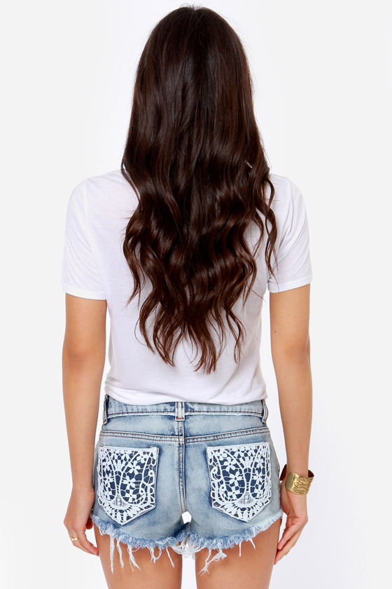 Others Follow Rain Lace Cutoff Jean Shorts at Lulus.com!