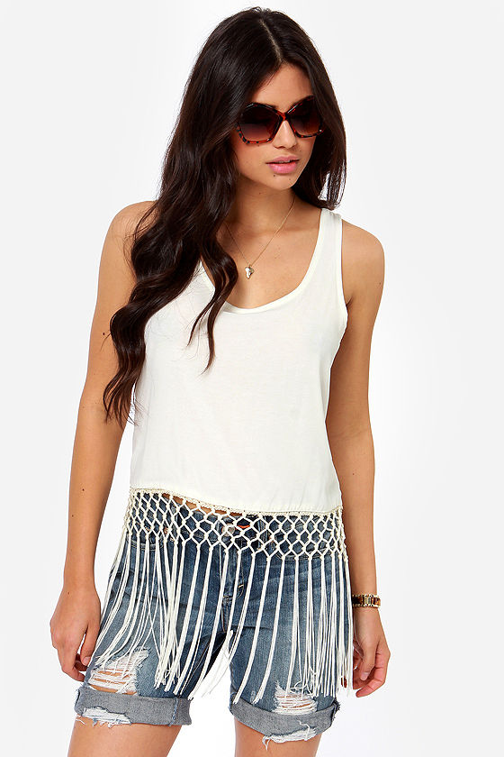 2356e365765bd7 Others Follow Panther Top - Fringe Top - Tank Top -  49.00
