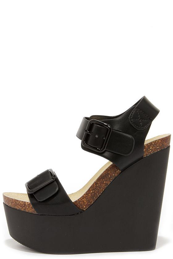 b8f79a28e73 Cute Black Wedges - Platform Wedges - Wedge Sandals -  32.00