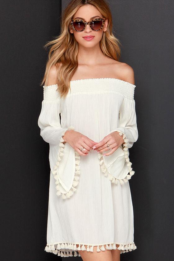 ceb8b3b3040d Off-the-Shoulder Dress - Cream Dress - Bell Sleeve Dress -  47.00