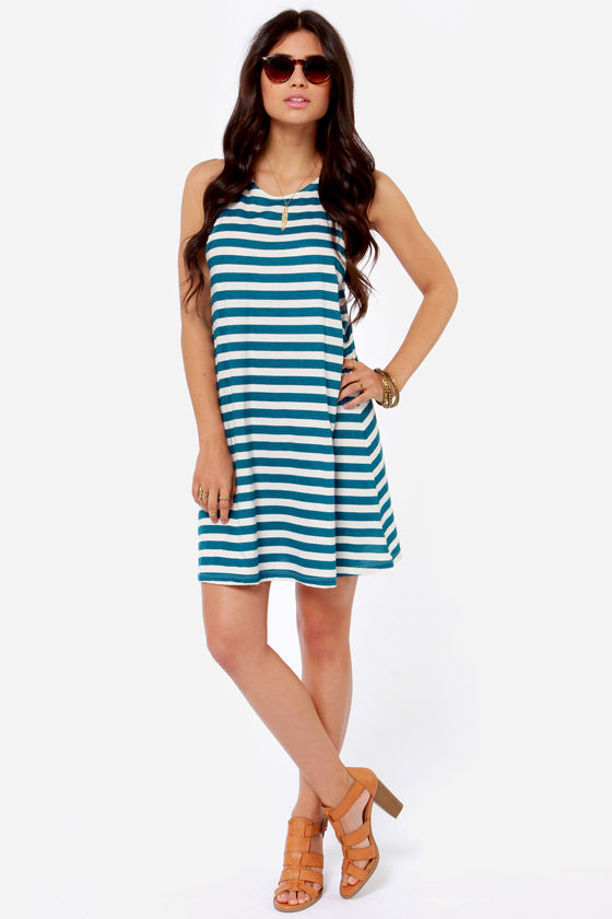 O'Neill Natalia Blue Striped Dress at Lulus.com!