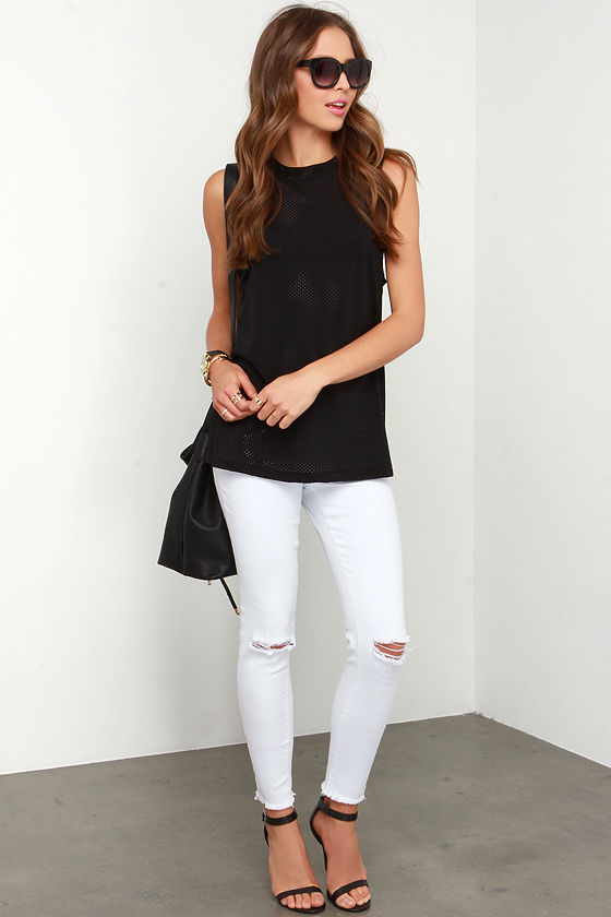 c2a597cf7f0d1 The Fifth Label Stay With Me - Black Tank Top - Athletic Mesh Tank ...