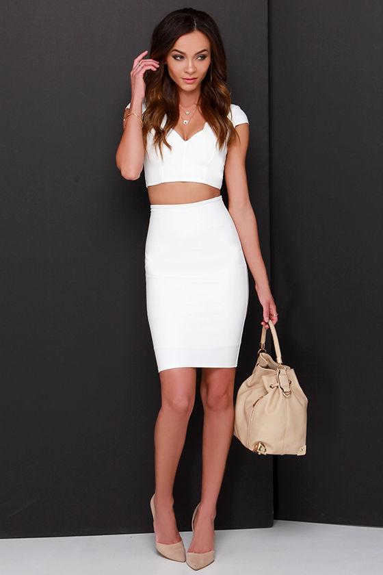 27a70e1042 Ivory Two-Piece Dress - Bodycon Dress - White Dress -  74.00
