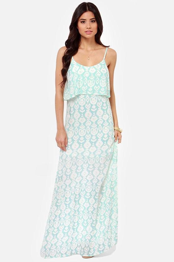 O'Neill Brie Dress - Aqua Dress - Mint Dress - Maxi Dress - $64.00