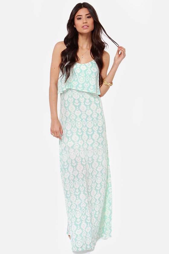 O'Neill Brie Aqua Print Maxi Dress at Lulus.com!