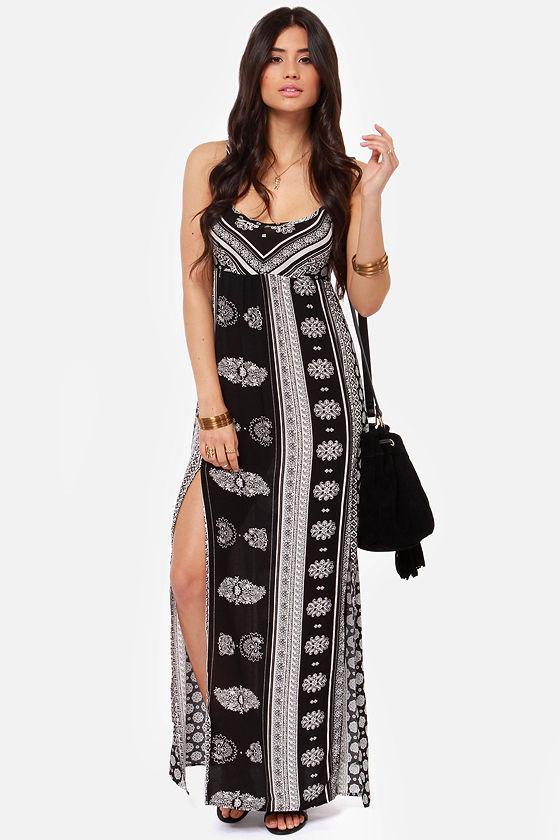 O'Neill Casty Dress - Maxi Dress - Ivory and Black Dress - $69.50