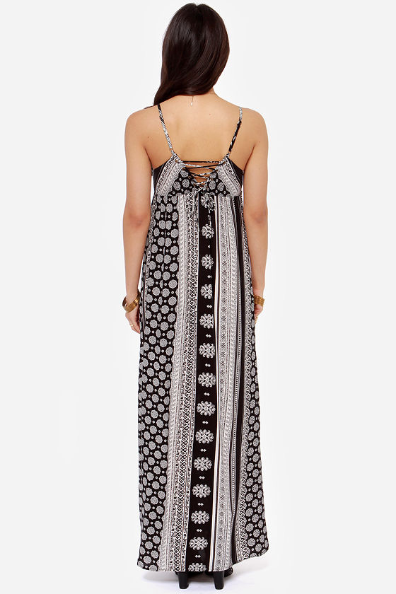O'Neill Casty Ivory and Black Print Maxi Dress at Lulus.com!