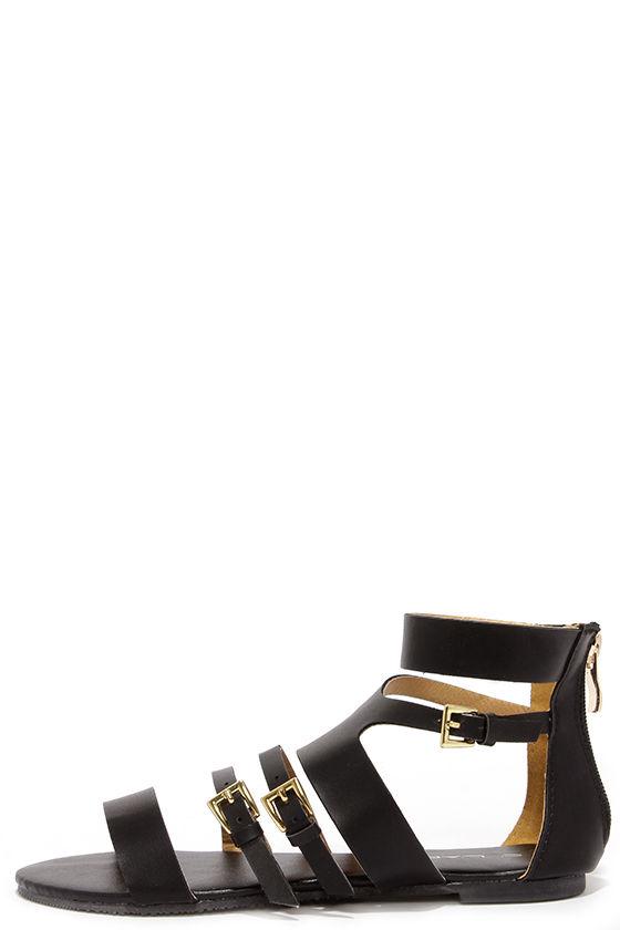 0e05dc3fb154 Cute Black Sandals - Gladiator Sandals -  36.00