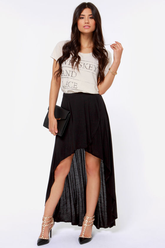 Obey Alija High-Low Black Skirt at Lulus.com!