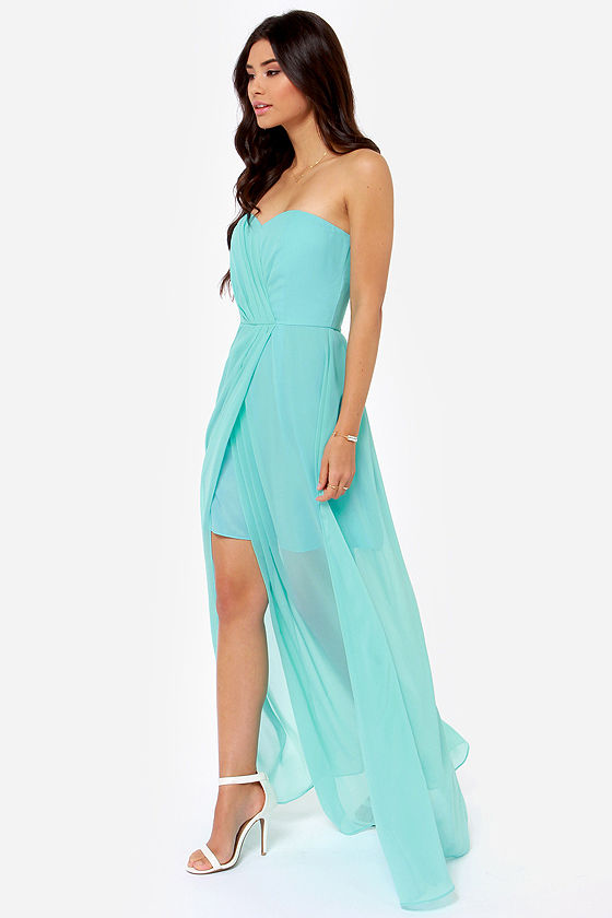 Teal Strapless Dresses